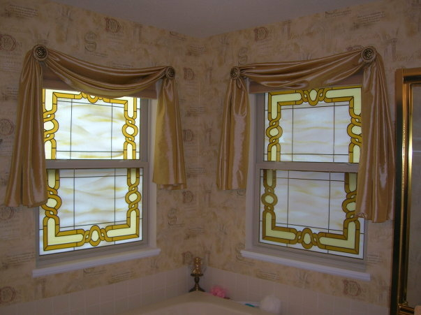 Stained Glass Overlay Bathroom Two Windows
