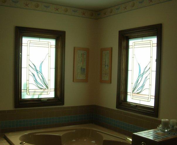 Bathroom Custom Stained Glass Overlay