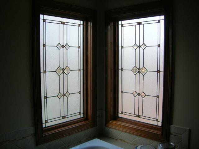 Corner Bath Stained Glass Overlay