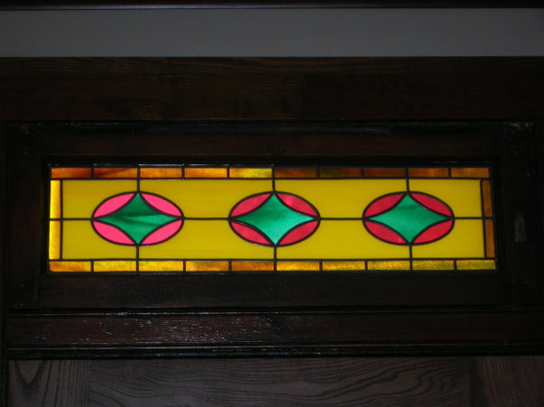 Colorful Stained Glass Overlay Transom