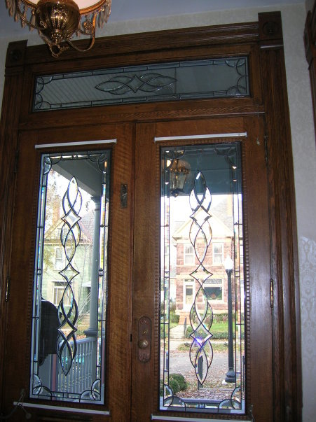 Entryway Stained Glass Overlay Leaded