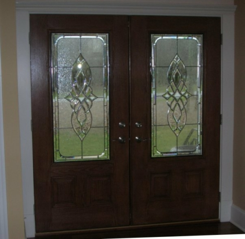 Classic Front Entry Stained Glass Overlay Leaded