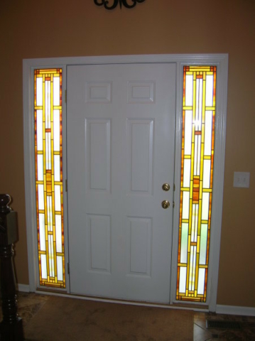 Stained Glass Overlay Entryway Copper