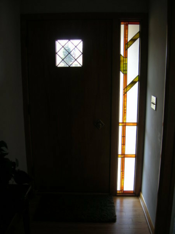 Modern Stained Glass Overlay Sidelight and Leaded Door Window
