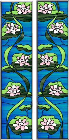 Stained Glass Overlay Sidelights Lilies