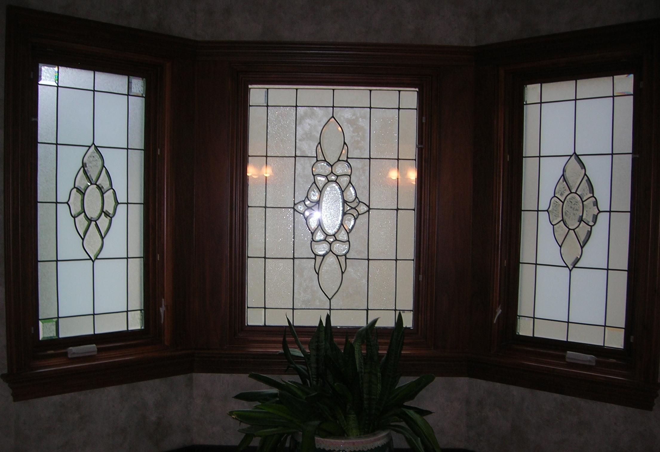 Privacy Leaded Glass Overlay Bay Window