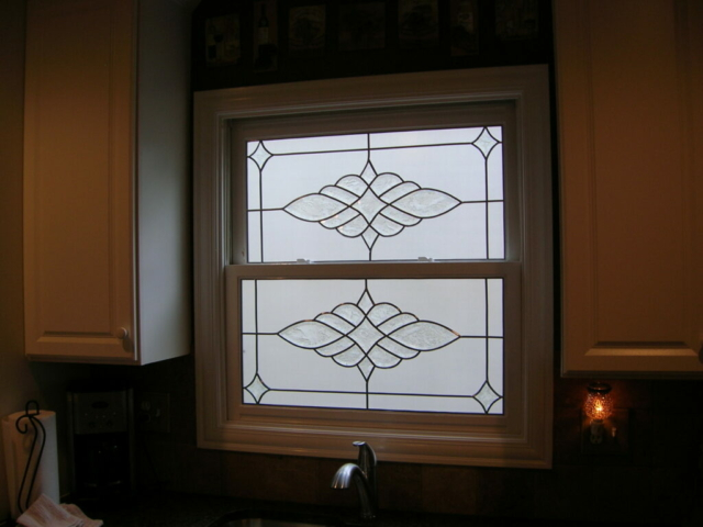 Kitchen Privacy Glass Overlay Leaded