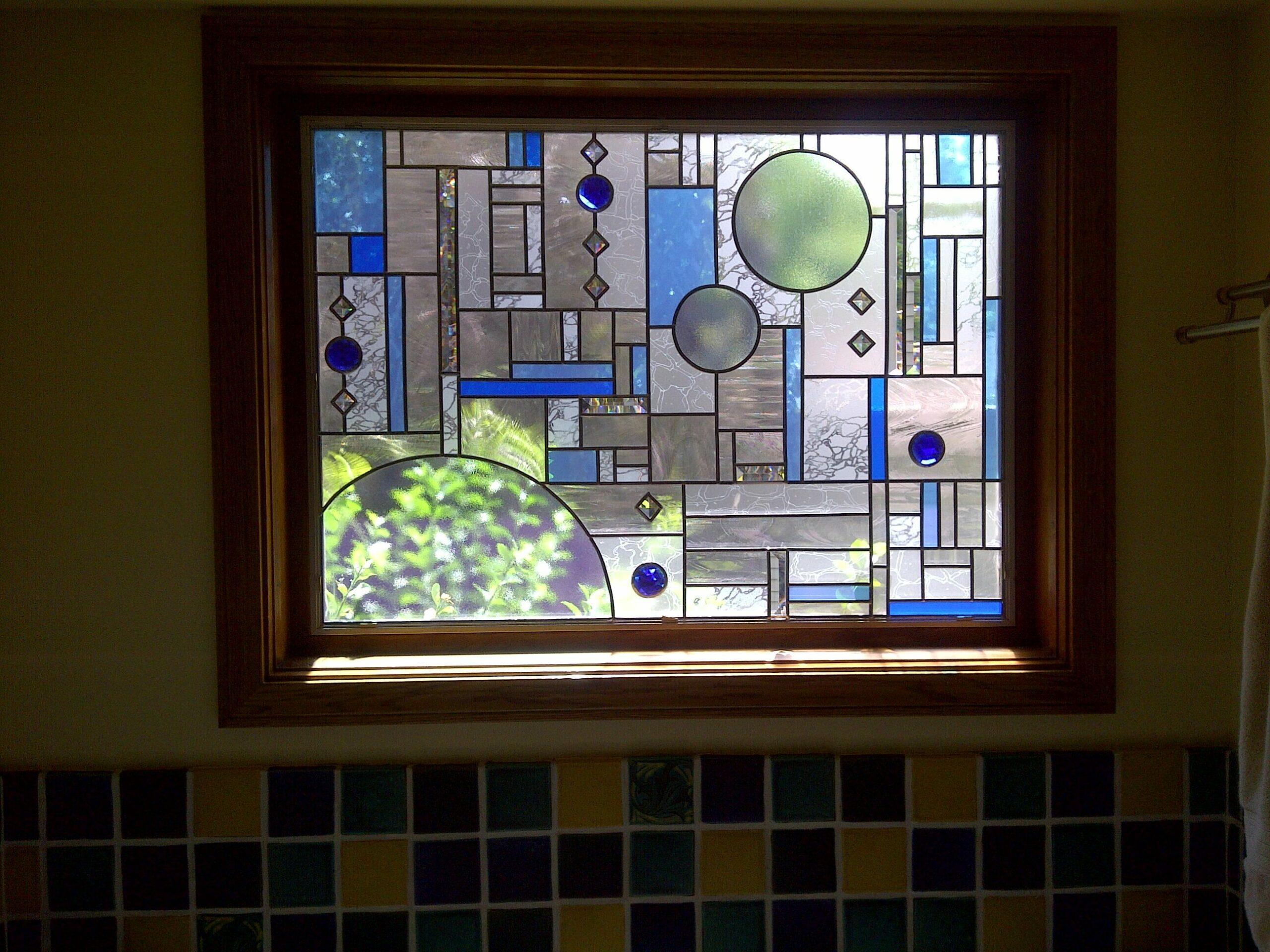 Modern Stained Glass Overlay Bathroom