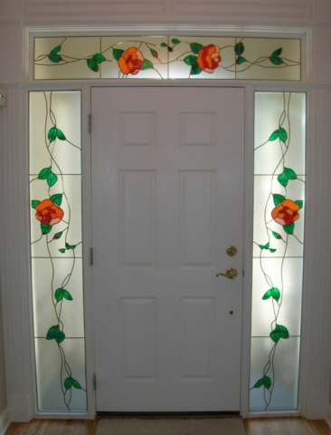 Floral Stained Glass Overlay Entryway