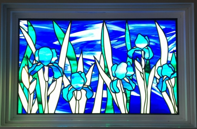 Stained Glass Overlay Irises