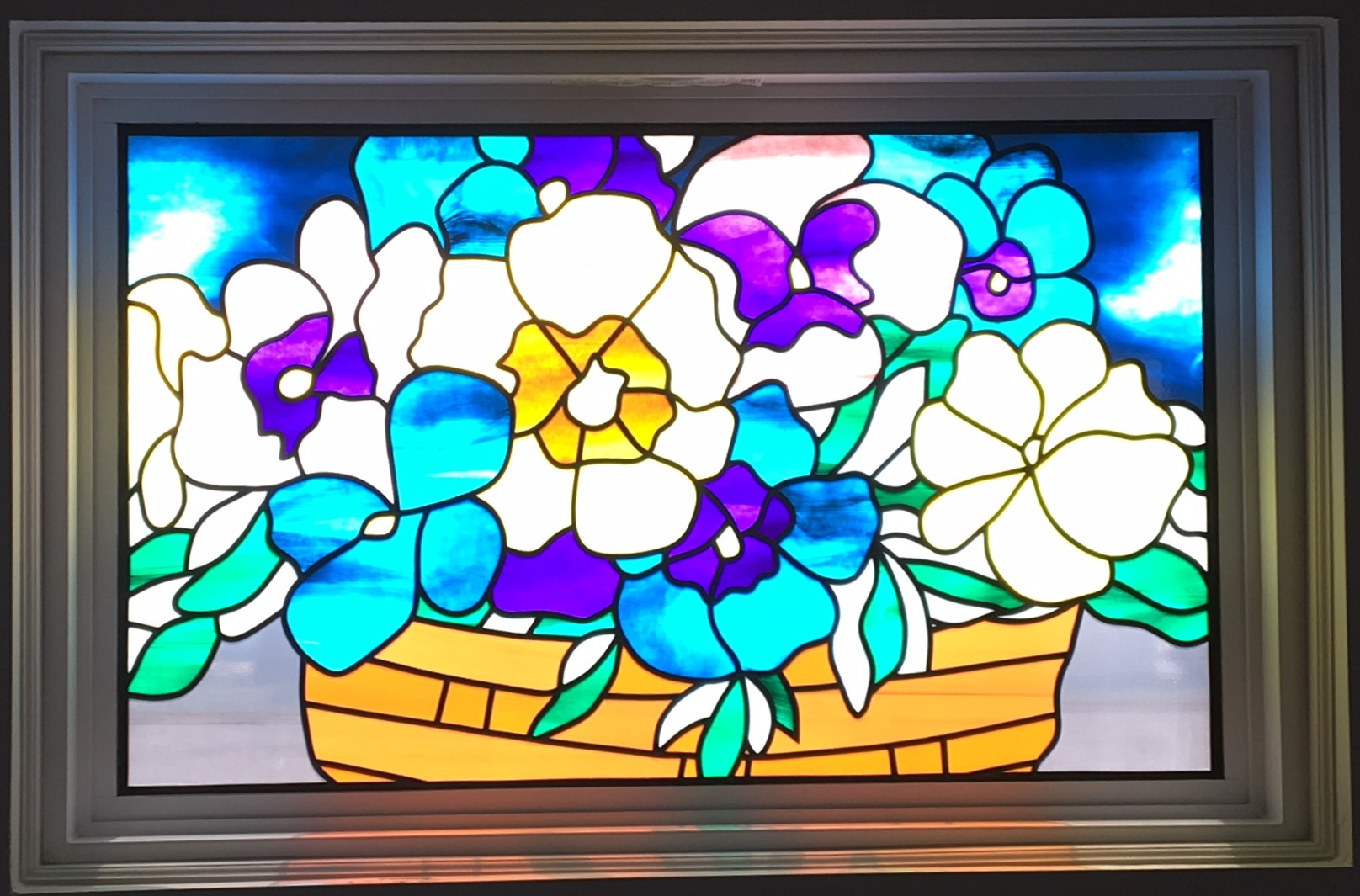 Stained Glass Overlay Pansies